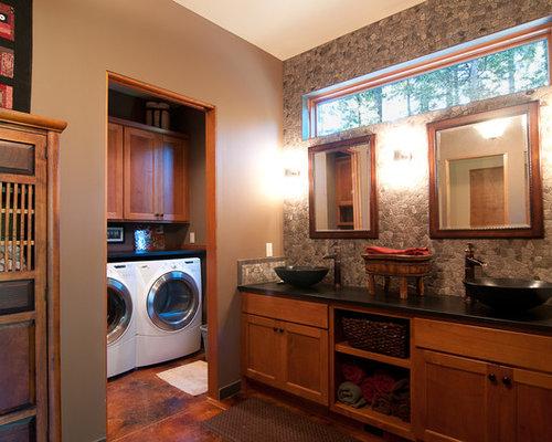Master bathroom laundry combo houzz for Bathroom and laundry ideas