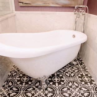 Mid-sized asian kids' white tile and stone tile ceramic floor and black floor bathroom photo in DC Metro with recessed-panel cabinets, dark wood cabinets, a one-piece toilet, pink walls, a pedestal sink, granite countertops and white countertops