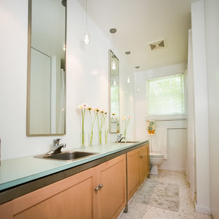 Galley Style Bathroom with His and Her Sinks