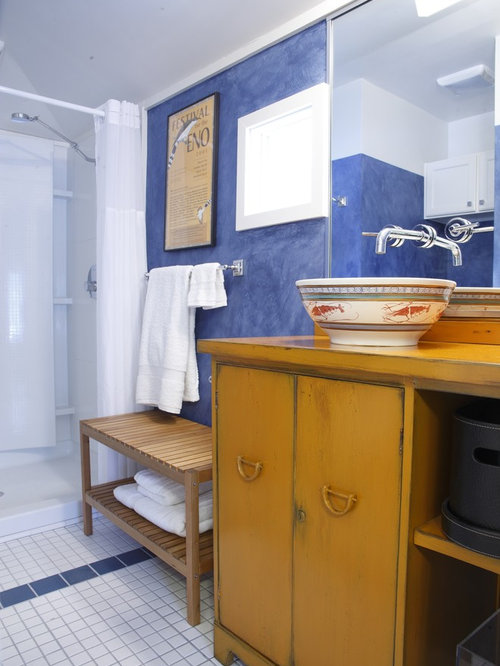 Eclectic bathroom design ideas renovations photos with yellow cabinets - Eclectic bathroom ...