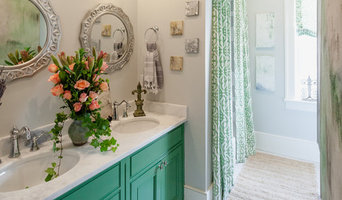 Garden Bathroom with Penny Tile and fun color