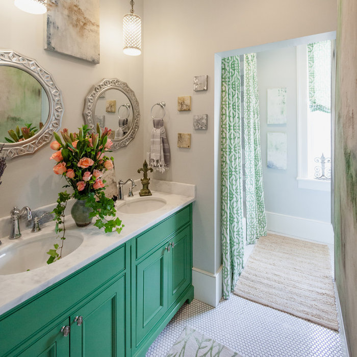 Garden Bathroom with Penny Tile and FRESH Spring Color
