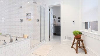 Garden Court, Philadelphia: Transitional Master Bathroom with Walk-In Shower