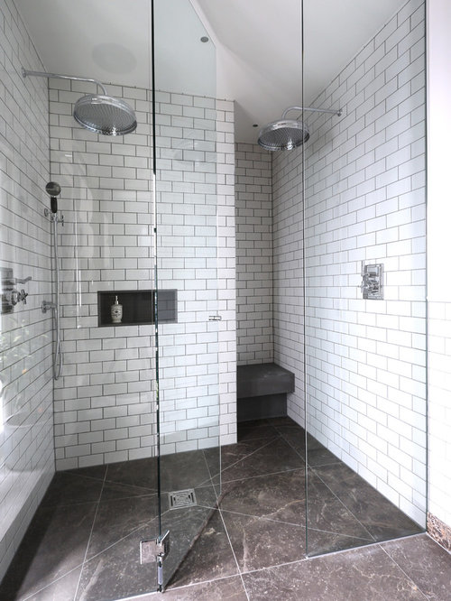 alcove shower contemporary white tile and subway tile alcove shower idea in london with white - White Subway Tile Shower