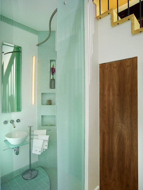 contemporary mosaic tile and blue tile blue floor bathroom idea in boston with a vessel sink - Recessed Panel Bathroom Decoration