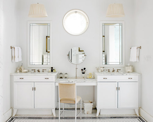 Example Of A Classic White Tile Bathroom Design In Atlanta With An  Undermount Sink, White