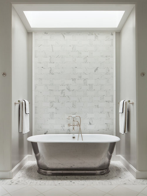 Inspiration For A Transitional Master Bathroom Remodel In Dc Metro With A Freestanding Tub White