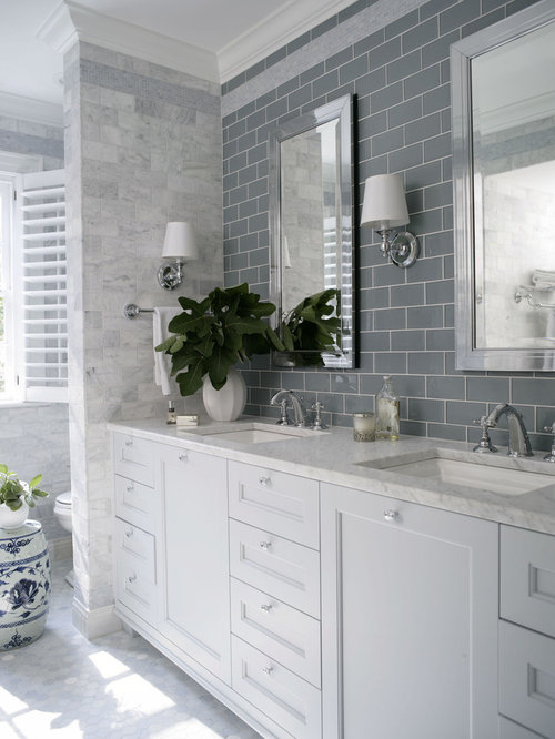 Traditional Gray Tile Bathroom Idea In Raleigh With An Undermount Sink,  Recessed Panel Cabinets