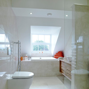 This is an example of a medium sized classic bathroom in Devon with a walk-in shower, a one-piece toilet, marble flooring, beige tiles, beige walls and an open shower.