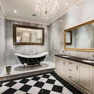 Bathroom - traditional multicolored floor bathroom idea in Perth with an undermount sink