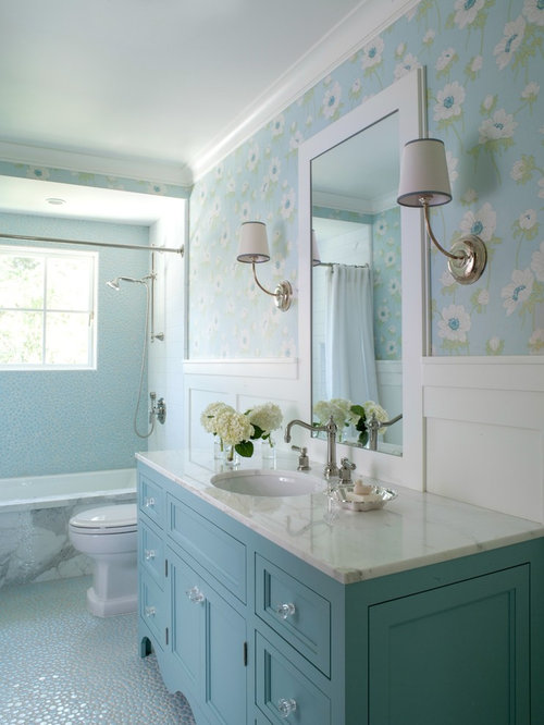 Family Bathroom Design Ideas Renovations Photos With Blue Cabinets