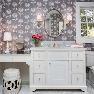 Design ideas for a small classic family bathroom in Los Angeles with a submerged sink, beaded cabinets, white cabinets, marble worktops, multi-coloured walls and mosaic tile flooring.