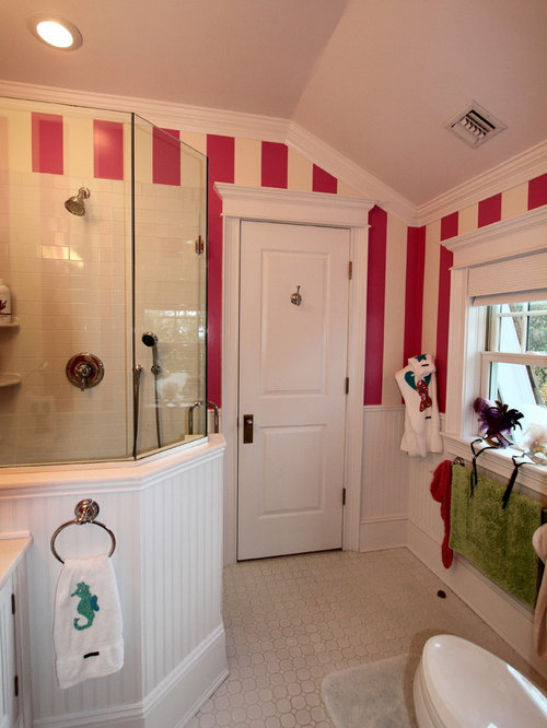 Eclectic Bathroom Design Ideas Renovations Photos With An Alcove Shower