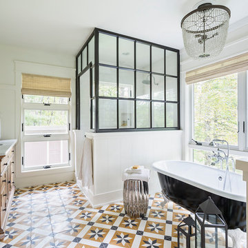 Glamorous Industrial Bathroom With Toscano Patterned Cement Tiles