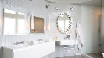 Glamorous White Glass Tile Master Bath