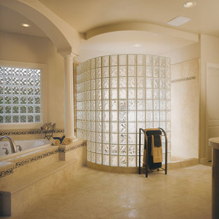 Bathroom - large modern master beige tile and glass tile ceramic tile bathroom idea in Dallas with white walls