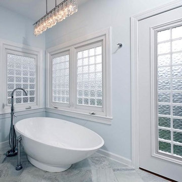 Glass Block Walls & Windows Highlight Modern Bath Remodel