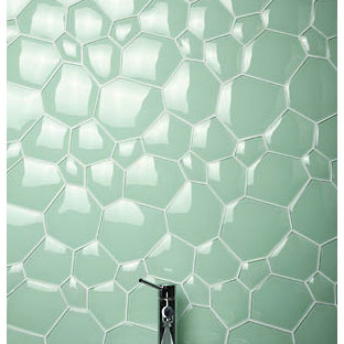 Inspiration for a contemporary green tile and glass tile bathroom remodel in Los Angeles with a vessel sink