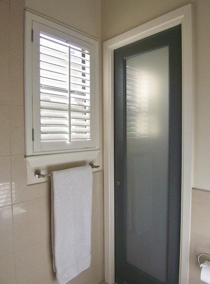 Contemporary Bathroom Glass Light Pocket Doors.....a go-to solution