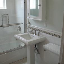 Traditional Bathroom glass stone subway sage