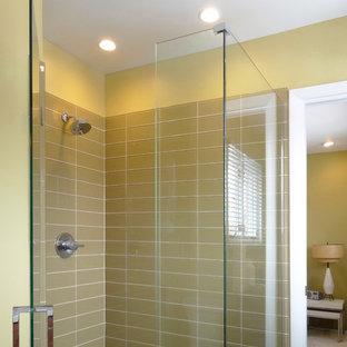 Glass Walk in Shower in Olive Green