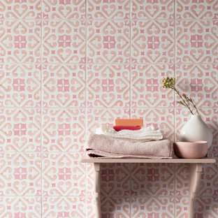 Photo of a country bathroom in London with pink tile and ceramic tile.