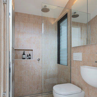 Small contemporary 3/4 bathroom in Sydney with an alcove shower, beige walls, a wall-mount sink, beige floor, an open shower, a niche and a single vanity.
