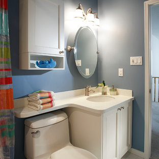 Example Of A Small Clic Kids Blue Tile And Porcelain Floor Bathroom Design