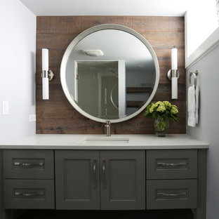 Mid-sized trendy kids' porcelain tile and gray tile porcelain tile, gray floor, single-sink and wood wall alcove shower photo in Chicago with gray cabinets, quartz countertops, furniture-like cabinets, a one-piece toilet, gray walls, an undermount sink, a hinged shower door, white countertops, a niche and a built-in vanity