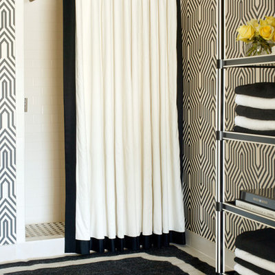 Inspiration for a mid-sized transitional black and white tile alcove shower remodel in Little Rock with multicolored walls
