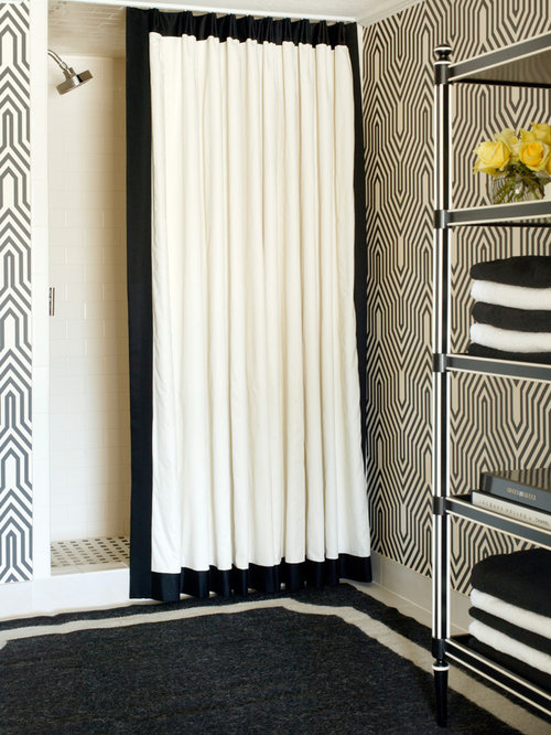 Inspiration For A Mid Sized Transitional Black And White Tile Alcove Shower Remodel In Little