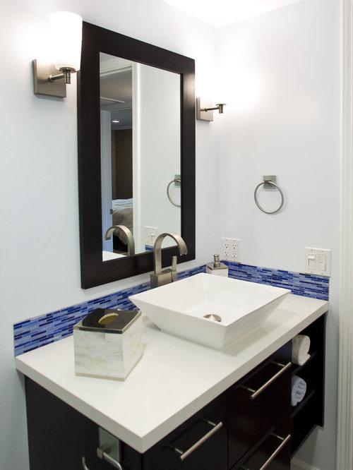 contemporary bathroom idea in los angeles with a vessel sink - Bathroom Backsplash