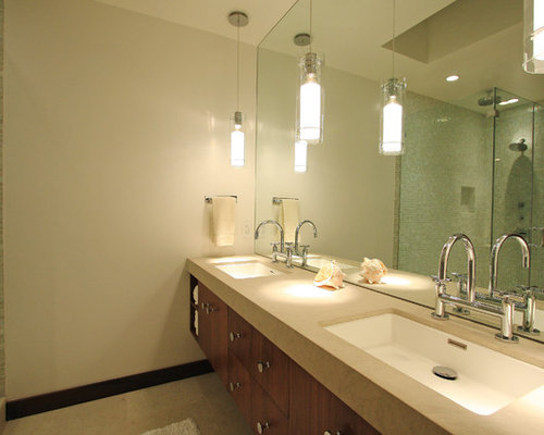 Pendant light over vanity home design ideas renovations for Lighting over bathroom vanity