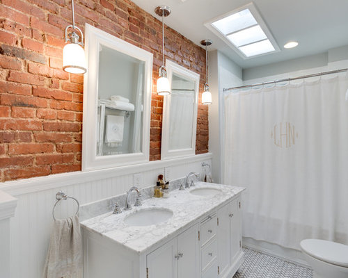 Gentil Example Of A Classic White Tile Bathroom Design In DC Metro With An  Undermount Sink,