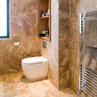 Ejemplo de cuarto de baño principal, moderno, de tamaño medio, con armarios abiertos, puertas de armario de madera clara, sanitario de una pieza, baldosas y/o azulejos marrones, baldosas y/o azulejos de piedra, paredes marrones y suelo de mármol