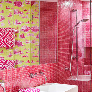 Contemporary bathroom in Brisbane with pink tile, mosaic tile, an integrated sink, white benchtops and a double vanity.