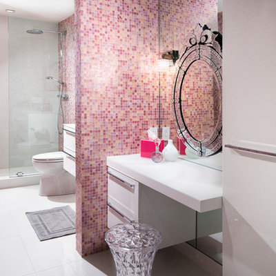Bathroom - large transitional pink tile and mosaic tile bathroom idea in Miami with flat-panel cabinets and white cabinets