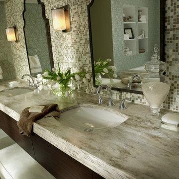 Gorgeous bathroom in Corian® Sandalwood.
