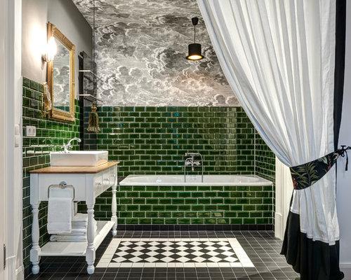 Badezimmer Mit Grünen Fliesen Ideen Design Bilder Houzz - Grüne fliesen bad