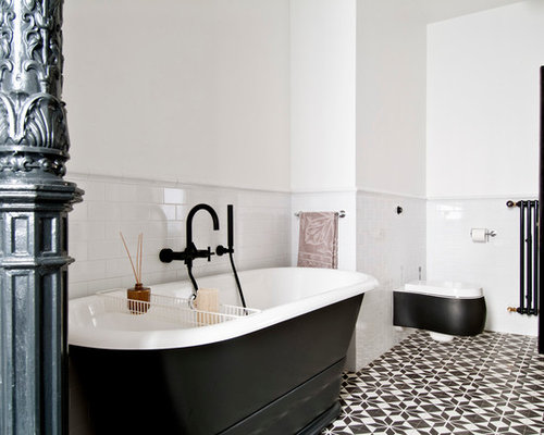 Inspiration For A Contemporary Multicolored Floor Freestanding Bathtub  Remodel In Los Angeles