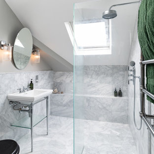Inspiration for a traditional bathroom in London with a built-in shower, grey tiles, grey walls, a console sink, grey floors and an open shower.