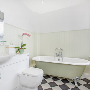 Photo Of A Small Classic Ensuite Bathroom In London With Flat Panel  Cabinets, White
