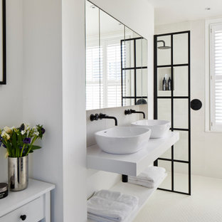Medium sized contemporary shower room bathroom in London with open cabinets, white cabinets, a walk-in shower, beige tiles, porcelain tiles, white walls, porcelain flooring, a vessel sink, beige floors and white worktops.