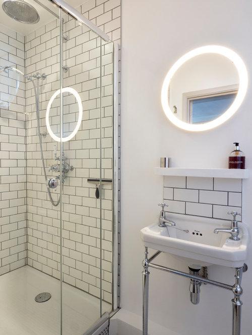 Design Ideas For An Urban Bathroom In London With White Tiles, Metro Tiles,  An