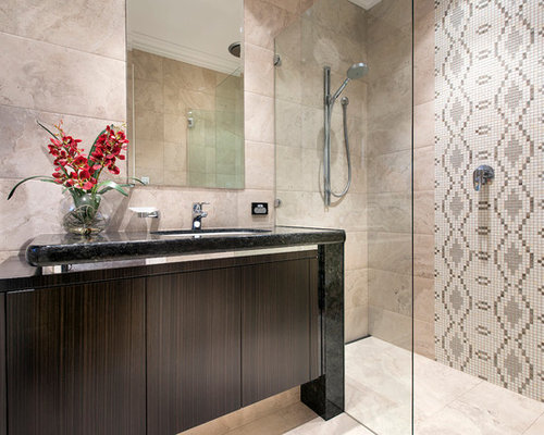 Photo Of A Mediterranean Bathroom In Perth With An Undermount Sink,  Flat Panel Cabinets