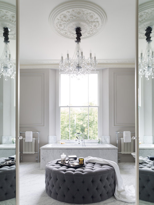 design ideas for a classic ensuite bathroom in london with a built in bath and