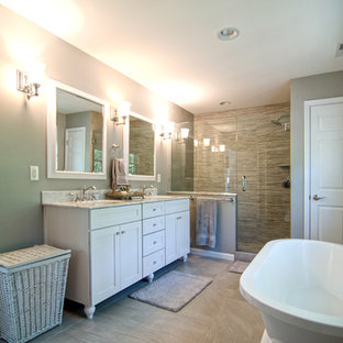 Mid-sized cottage chic master beige tile and ceramic tile ceramic floor bathroom photo in Baltimore with an undermount sink, recessed-panel cabinets, white cabinets, granite countertops, a one-piece toilet and green walls