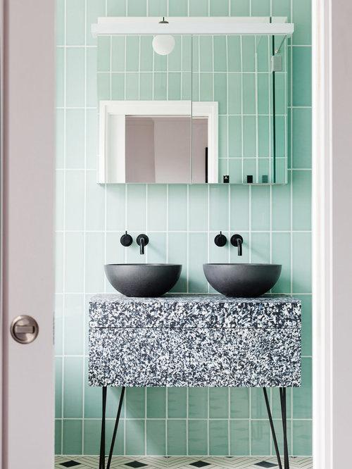 75 Trendy Contemporary Bathroom with Green Walls Design Ideas ...