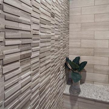 Gray marble contemporary bathroom - Ladera Ranch