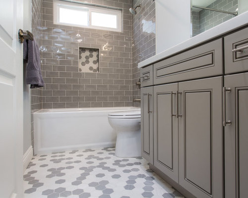 Small Transitional Kidsu0027 Gray Tile And Subway Tile Mosaic Tile Floor And  Gray Floor Bathroom Part 97